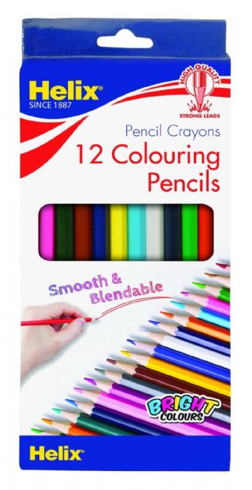12 x HELIX COLOURING PENCILS - FULL Size Hexagonal Shape, Anti-Break Leads